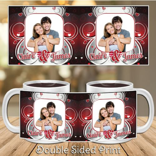 Personalised Hearts PHOTO Mug Gift N12 - Any Names